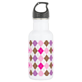 Hot Pink, Purple, Brown, White Argyle Water Bottle