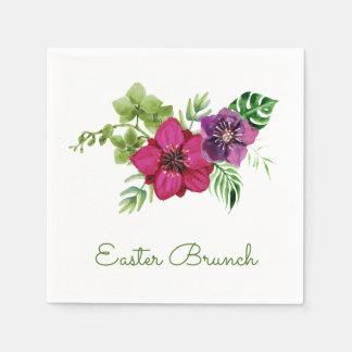 Hot Pink Purple Floral Easter Brunch Napkin