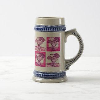 Hot Pink Purple Flower Bouquet in Vase Pop Art Mos Beer Stein
