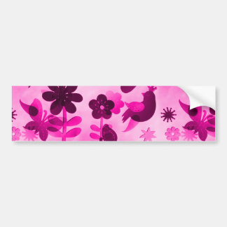 Hot Pink Purple Flowers Birds Butterflies Floral Bumper Stickers