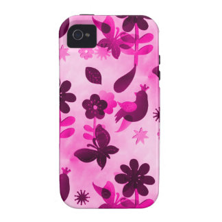 Hot Pink Purple Flowers Birds Butterflies Floral Vibe iPhone 4 Cases