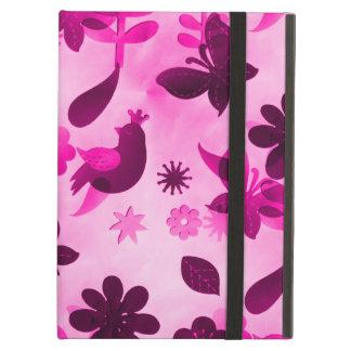 Hot Pink Purple Flowers Birds Butterflies Floral iPad Folio Cases
