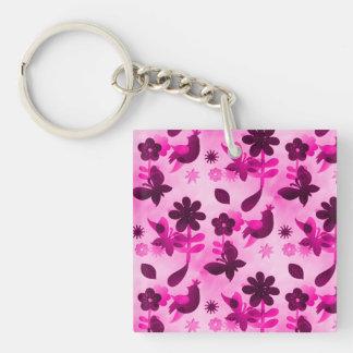 Hot Pink Purple Flowers Birds Butterflies Floral Acrylic Keychain