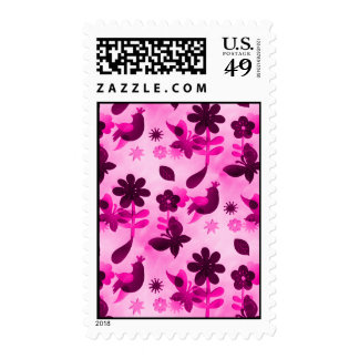 Hot Pink Purple Flowers Birds Butterflies Floral Postage Stamp