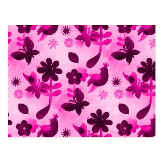 Hot Pink Purple Flowers Birds Butterflies Floral Postcard