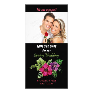 Hot Pink Purple Green Floral Wedding Card