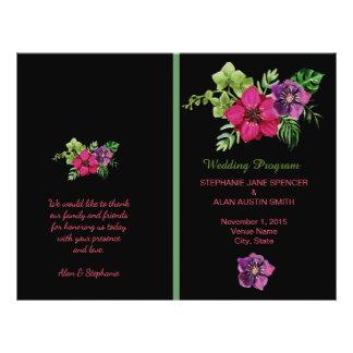 Hot Pink Purple Green Floral Wedding Programs