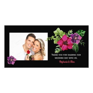 Hot Pink Purple Green Floral Wedding Thank You Card