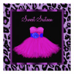 Hot Pink Purple Leopard Sweet Sixteen Birthday Personalized Announcement