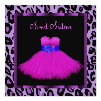 "Hot Pink Purple Leopard Sweet Sixteen Birthday 5.25"" Square Invitation Card"