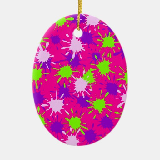 Hot Pink Purple Lime Green Paint Splatters Splotch Christmas Tree Ornaments