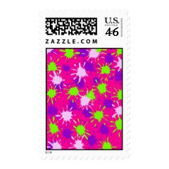 Hot Pink Purple Lime Green Paint Splatters Splotch Postage