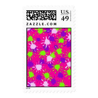 Hot Pink Purple Lime Green Paint Splatters Splotch Postage