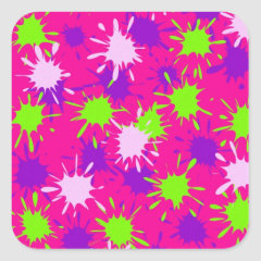 Hot Pink Purple Lime Green Paint Splatters Splotch Square Stickers