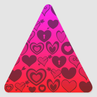 Hot Pink Purple Ombre Hearts Valentines Day Gifts Triangle Sticker