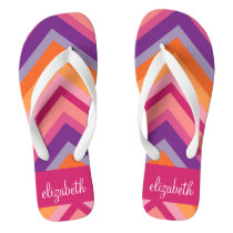 Hot Pink Purple Orange Chevron Pattern Flip Flops