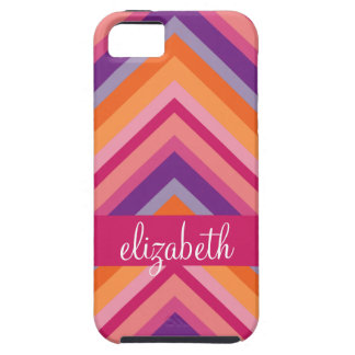 Hot Pink Purple Orange Chevron Pattern iPhone SE/5/5s Case