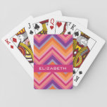 """Hot Pink Purple Orange Chevron Pattern Playing Cards<br><div class=""""desc"""">An trendy pattern with a classy font designed for a feminine woman. Add your name or monogram. If you need to make adjustments to the artwork,  click on the it button to make changes.</div>"""