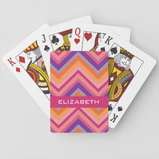 Hot Pink Purple Orange Chevron Pattern Playing Cards