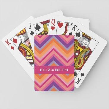 MarshEnterprises Hot Pink Purple Orange Chevron Pattern Playing Cards