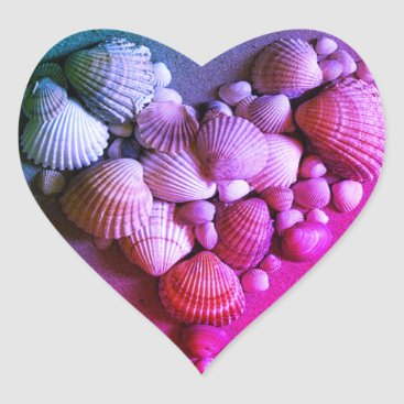 Beach Themed Hot Pink & Purple Sea Shell Heart Stickers