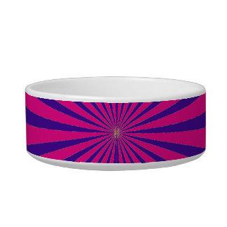 Hot Pink Purple Starburst Sun Rays Tunnel View Cat Food Bowl