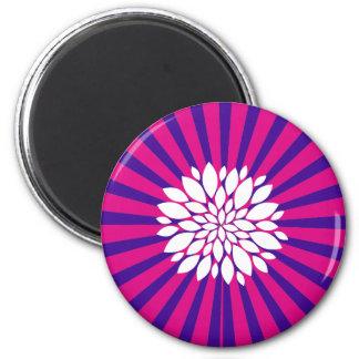 Hot Pink Purple Sunburst Sun Rays White Flower 2 Inch Round Magnet