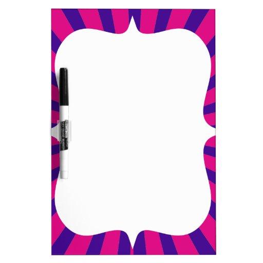 Hot Pink Purple Sunburst Sun Rays White Flower Dry-Erase Whiteboard