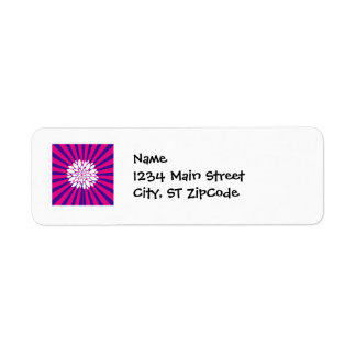 Hot Pink Purple Sunburst Sun Rays White Flower Label