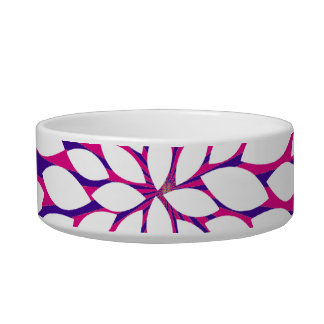 Hot Pink Purple Sunburst Sun Rays White Flower Cat Food Bowls