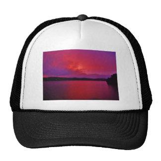 Hot Pink Purple sunset on Lake Arrowhead Trucker Hat