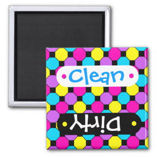 Hot Pink Purple Teal Yellow Black Squares Hexagons 2 Inch Square Magnet
