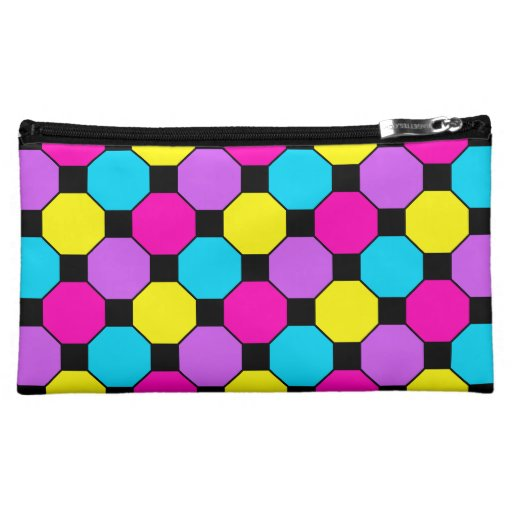 Hot Pink Purple Teal Yellow Black Squares Hexagons Cosmetic Bags