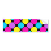 Hot Pink Purple Teal Yellow Black Squares Hexagons Bumper Sticker