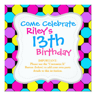 Hot Pink Purple Teal Yellow Black Squares Hexagons Personalized Invite