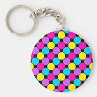 Hot Pink Purple Teal Yellow Black Squares Hexagons Keychain