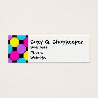 Hot Pink Purple Teal Yellow Black Squares Hexagons Mini Business Card