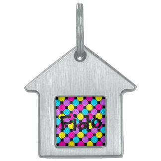 Hot Pink Purple Teal Yellow Black Squares Hexagons Pet ID Tag