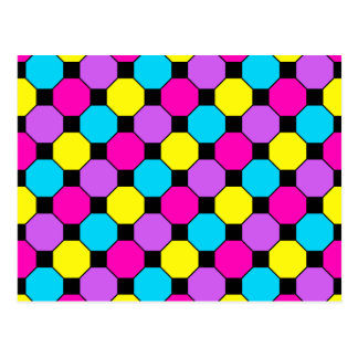 Hot Pink Purple Teal Yellow Black Squares Hexagons Postcard