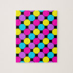Hot Pink Purple Teal Yellow Black Squares Hexagons Puzzle