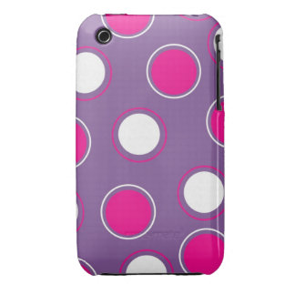 Hot Pink Purple White Polka Dots Concentric Circle iPhone 3 Case-Mate Case
