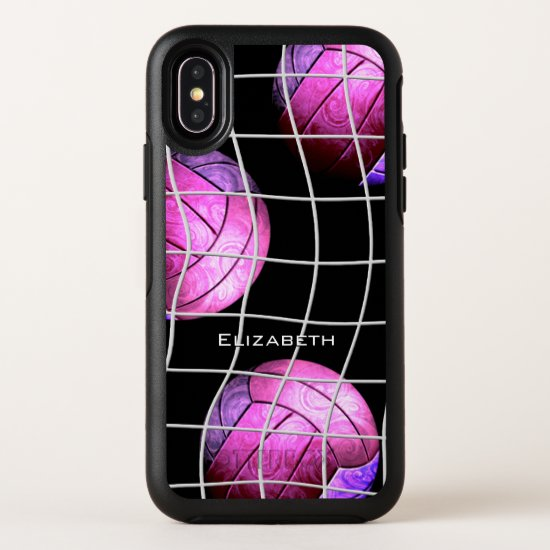hot pink purple women's volleyball OtterBox symmetry iPhone XS case