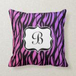 Hot Pink/Purple Zebra Monogram Cushion