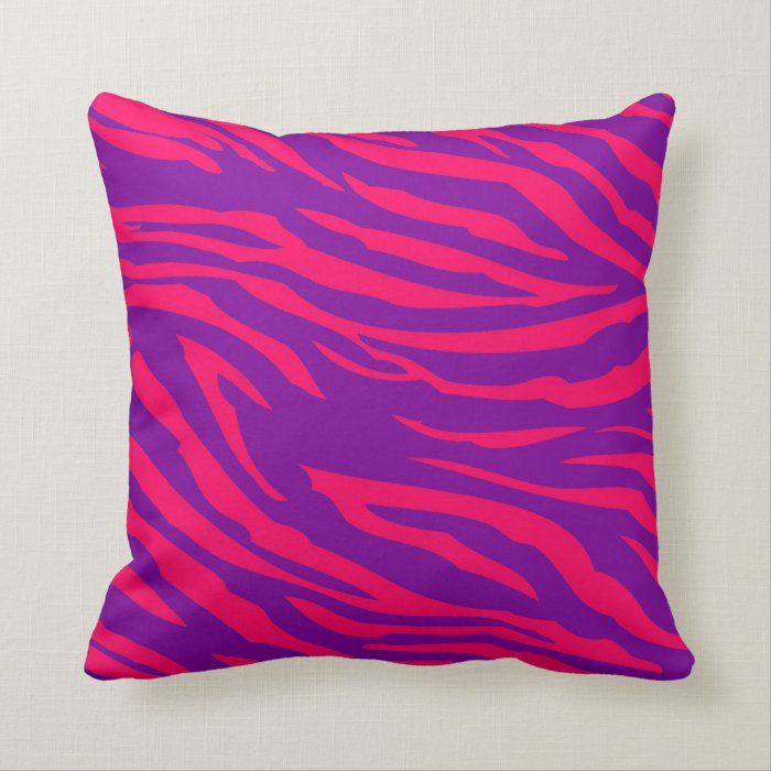 Hot Pink Purple Zebra Print Couch Throw Pillow Zazzle