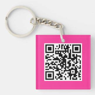 Hot Pink QR CODE Custom Key Chain