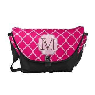 Hot Pink Quarterfoil Latti Monogram Bag Tote Purse Courier Bag