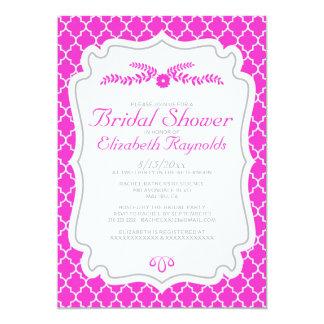 Hot Pink Quatrefoil Bridal Shower Invitations