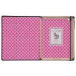 Hot Pink Quatrefoil Clover Pattern iPad Cover