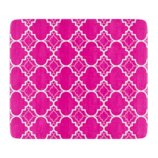 Hot Pink Quatrefoil Geometric Pattern Cutting Board