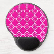 Hot Pink Quatrefoil Geometric Pattern Gel Mouse Pad